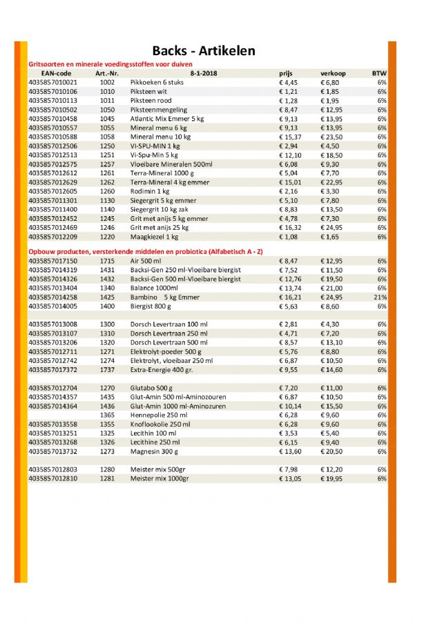 Klik voor een vergroting van Prijslijst BE18p3